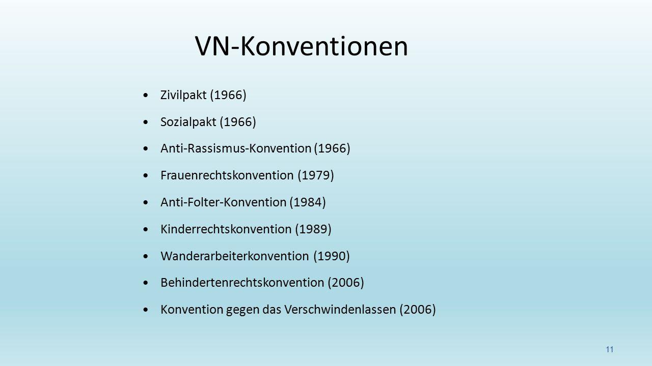VN-Konventionen Zivilpakt (1966) Sozialpakt (1966)