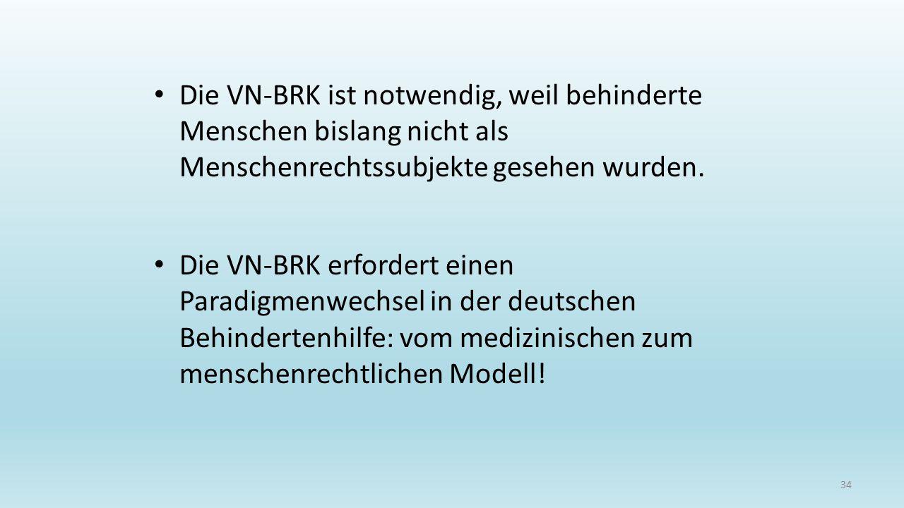 Die VN-BRK ist notwendig, weil behinderte Menschen bislang nicht als Menschenrechtssubjekte gesehen wurden.