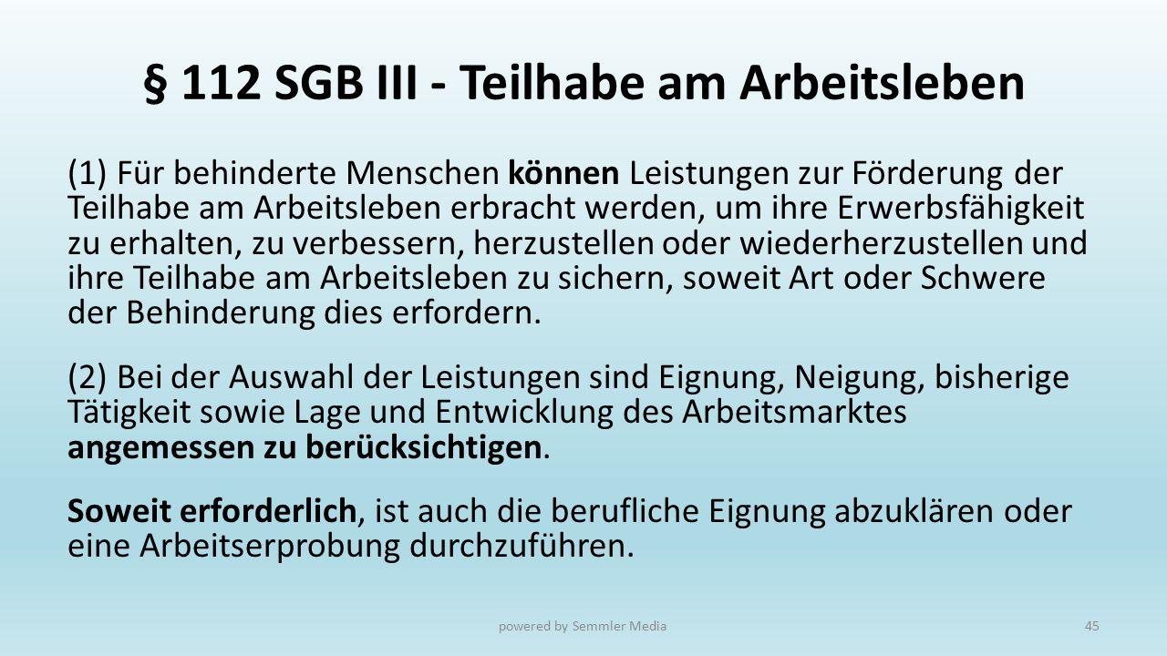 § 112 SGB III - Teilhabe am Arbeitsleben