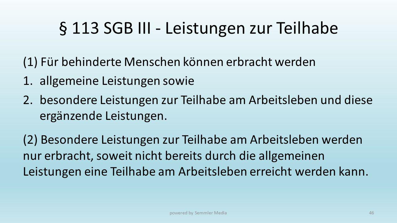 § 113 SGB III - Leistungen zur Teilhabe