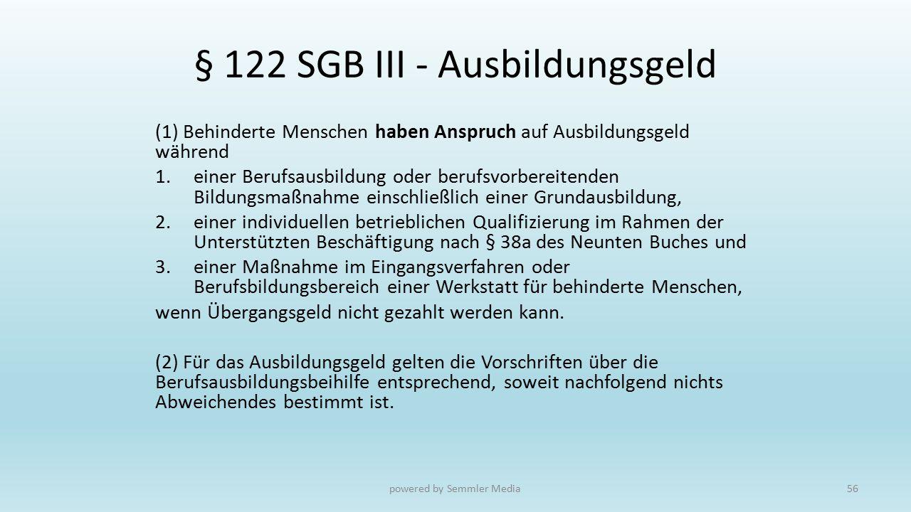 § 122 SGB III - Ausbildungsgeld