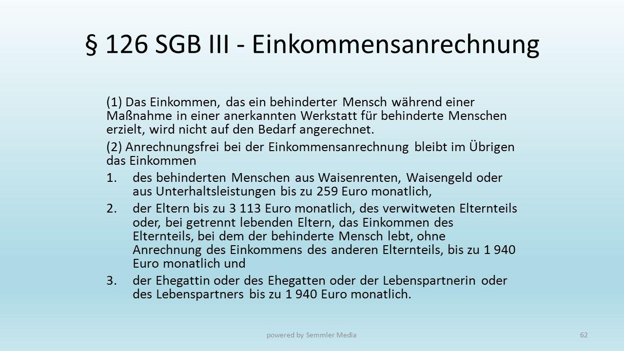§ 126 SGB III - Einkommensanrechnung