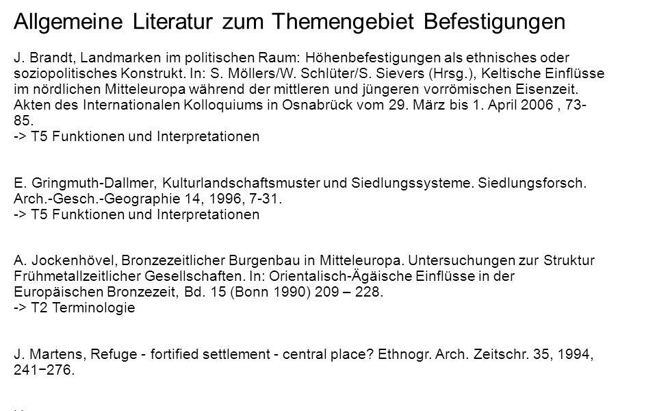 Allgemeine Literatur zum Themengebiet Befestigungen
