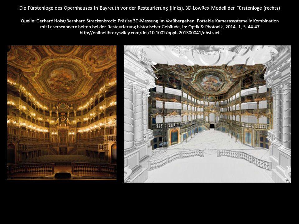 Die Fürstenloge des Opernhauses in Bayreuth vor der Restaurierung (links).