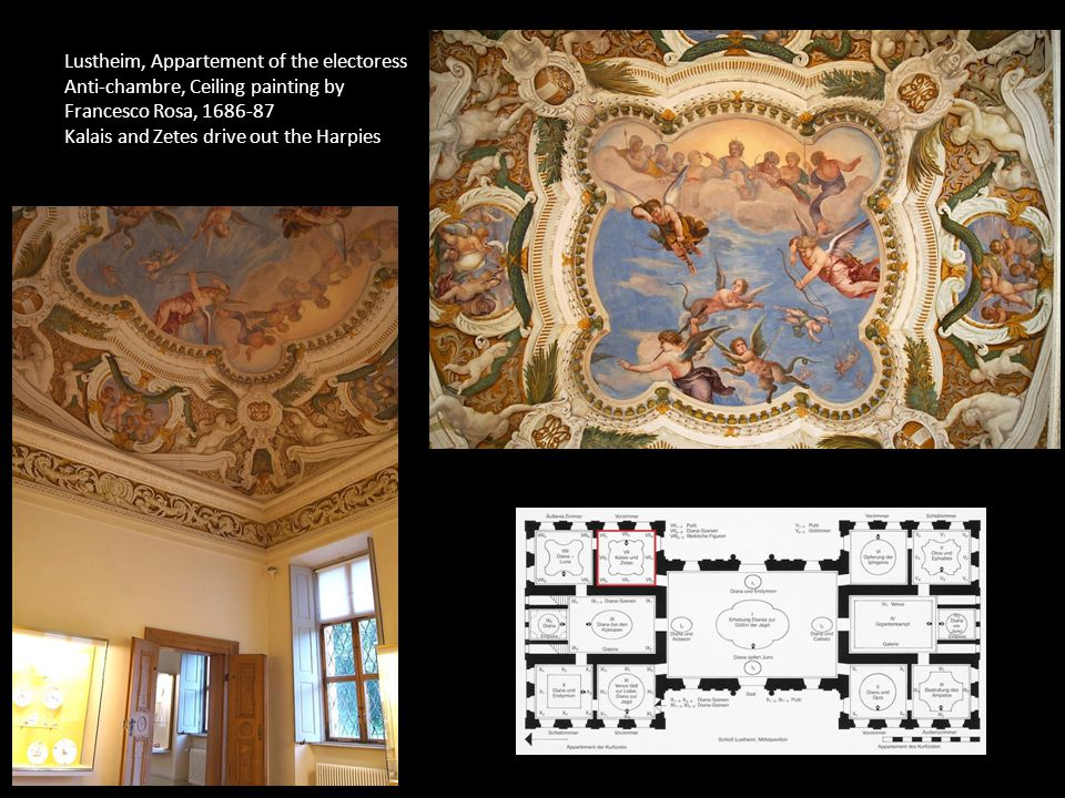 Lustheim, Appartement of the electoress Anti-chambre, Ceiling painting by Francesco Rosa, 1686-87 Kalais and Zetes drive out the Harpies