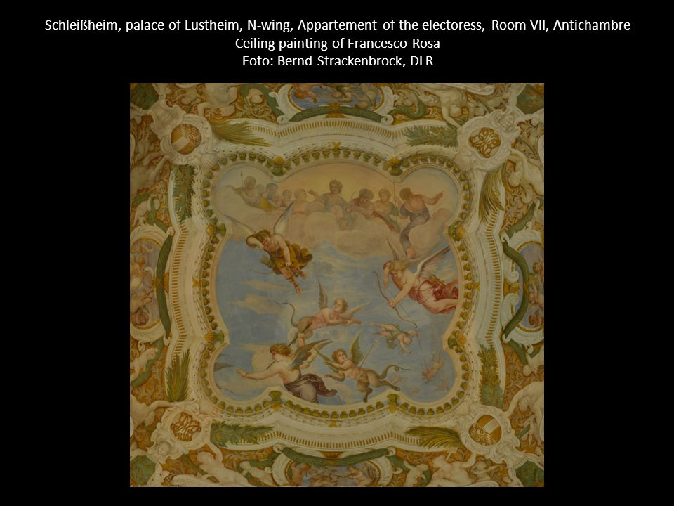Schleißheim, palace of Lustheim, N-wing, Appartement of the electoress, Room VII, Antichambre Ceiling painting of Francesco Rosa Foto: Bernd Strackenbrock, DLR