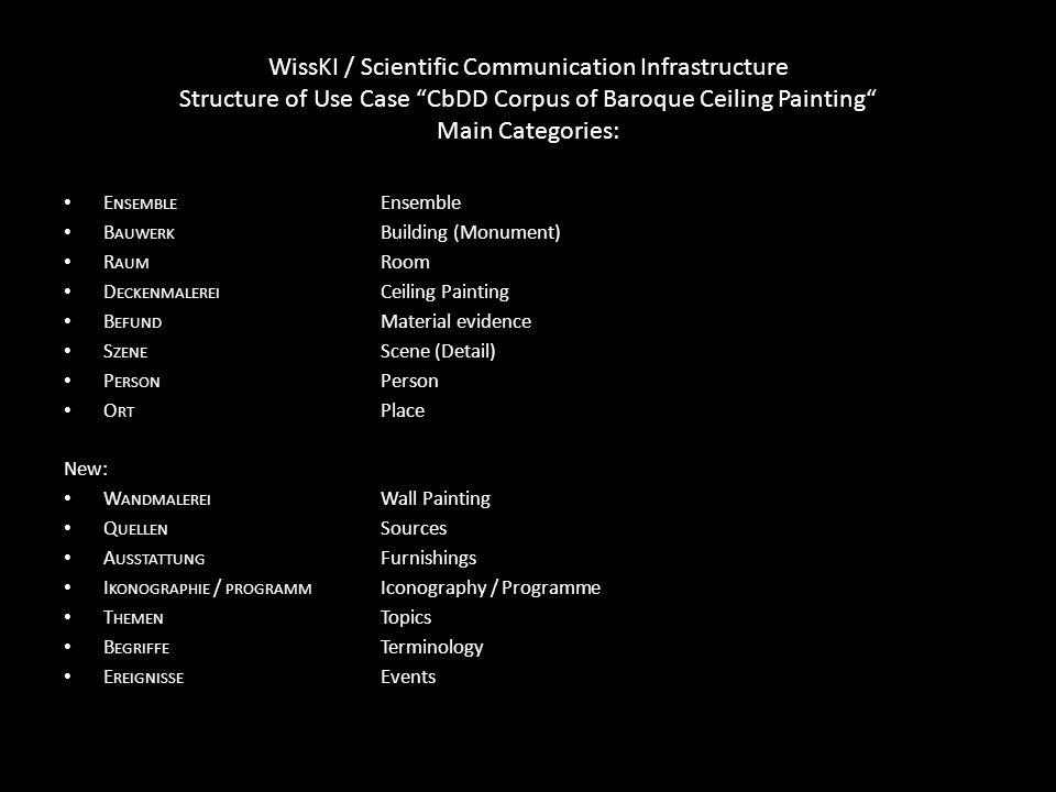 WissKI / Scientific Communication Infrastructure Structure of Use Case CbDD Corpus of Baroque Ceiling Painting Main Categories: