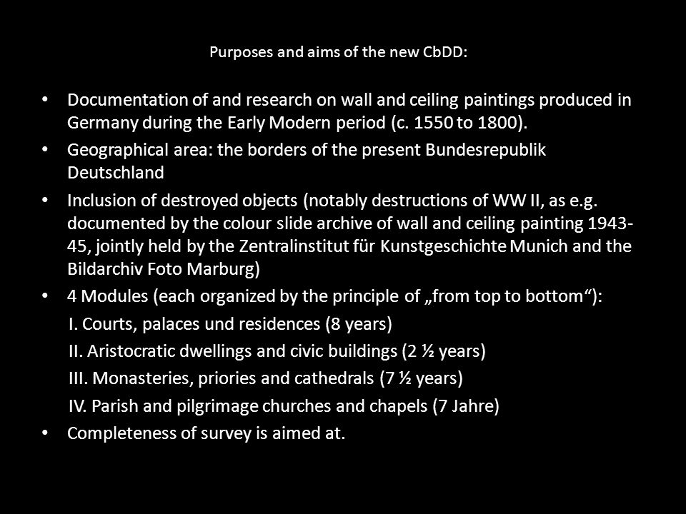 Purposes and aims of the new CbDD: