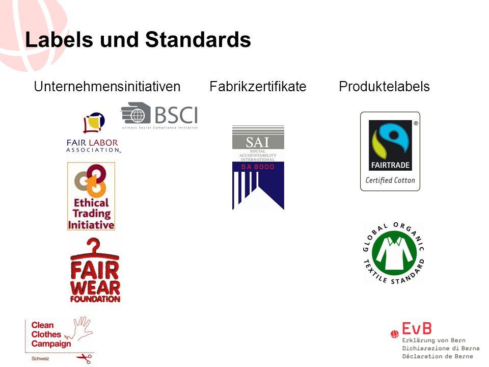 Labels und Standards Unternehmensinitiativen Fabrikzertifikate Produktelabels.