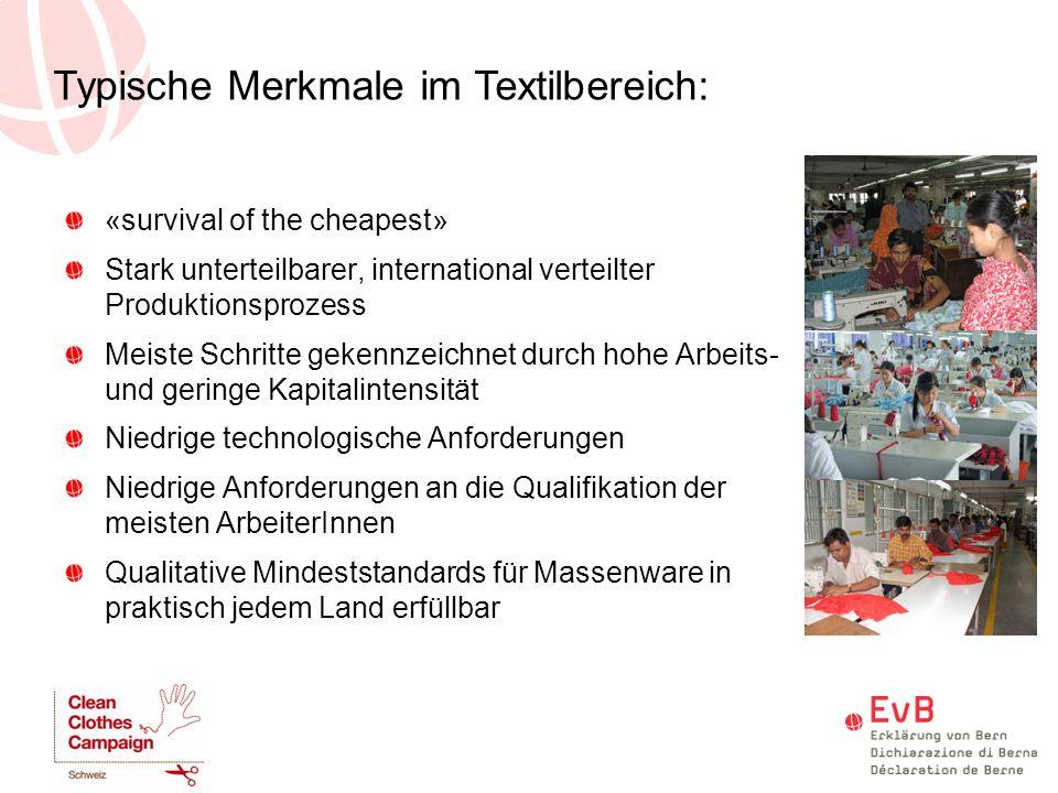Typische Merkmale im Textilbereich: