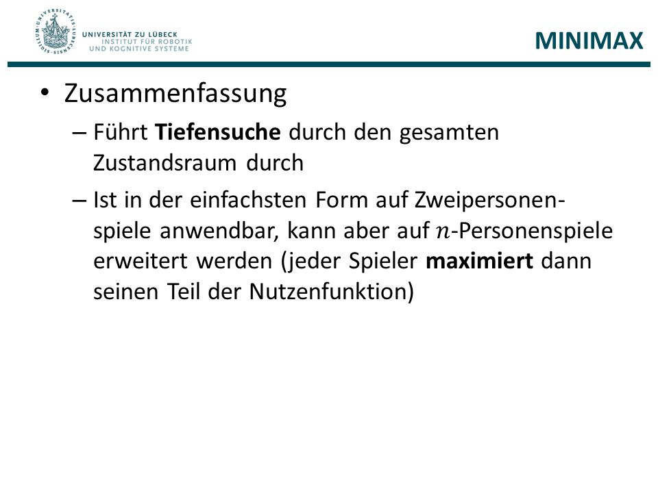 Zusammenfassung MINIMAX