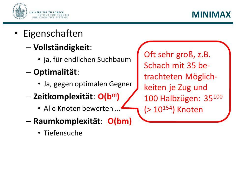 Eigenschaften MINIMAX Vollständigkeit: Optimalität: