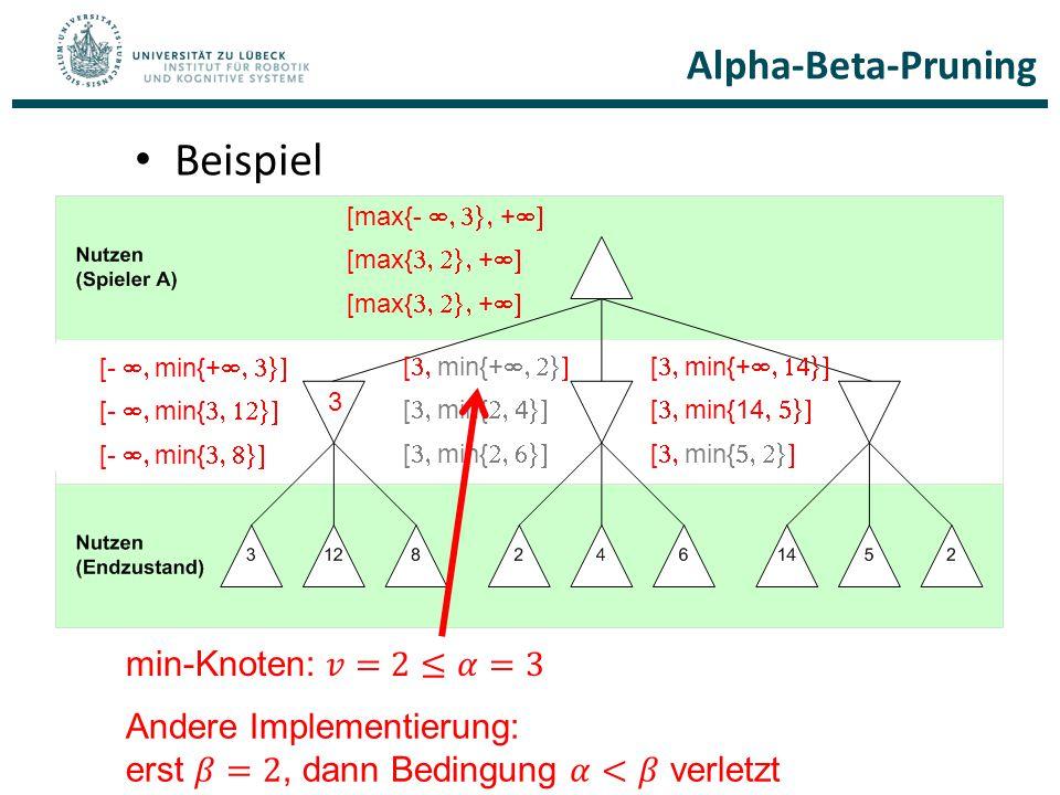 Beispiel Alpha-Beta-Pruning min-Knoten: 𝑣=2≤𝛼=3