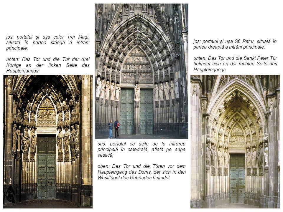 jos: portalul şi uşa celor Trei Magi, situată în partea stângă a intrării principale;