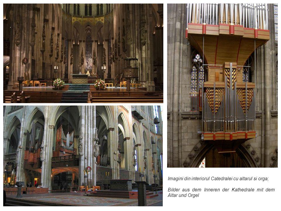 Imagini din interiorul Catedralei cu altarul si orga;
