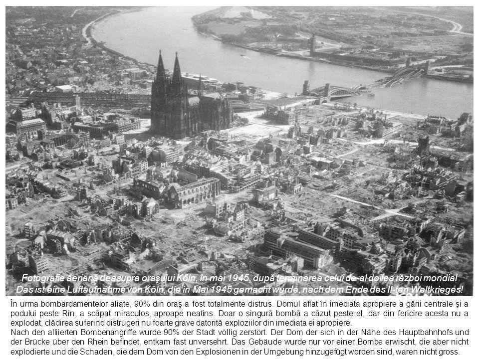 Fotografie aeriană deasupra oraşului Kőln, în mai 1945, după terminarea celui de-al doilea război mondial
