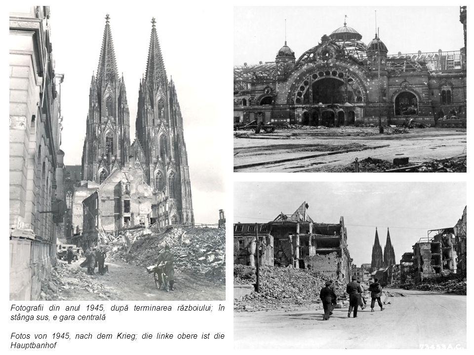 Fotografii din anul 1945, după terminarea războiului; în stânga sus, e gara centrală