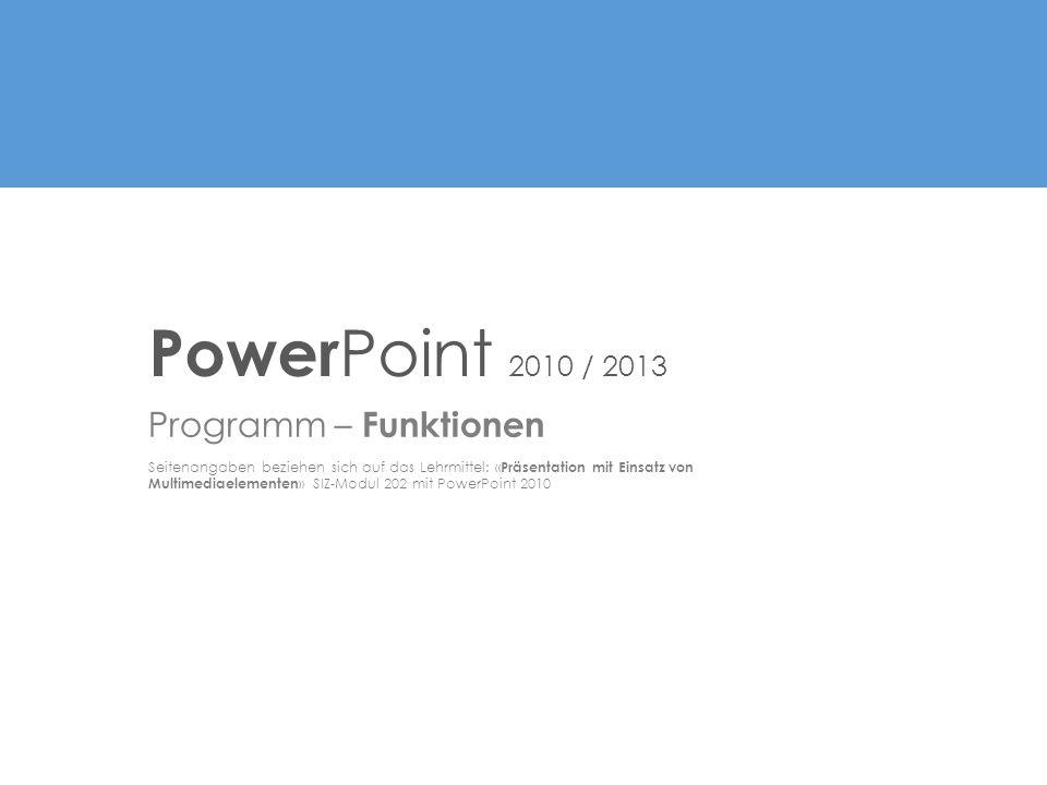 PowerPoint 2010 / 2013 Programm – Funktionen