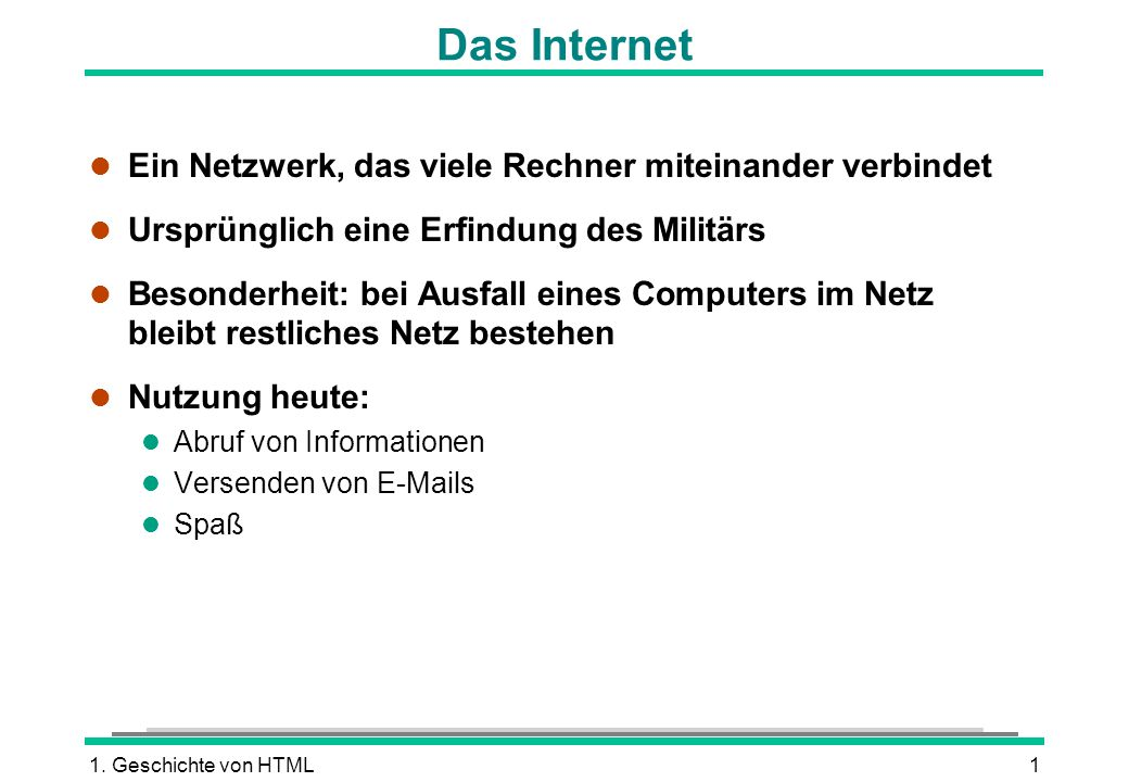 Das Internet Ein Netzwerk, das viele Rechner miteinander verbindet