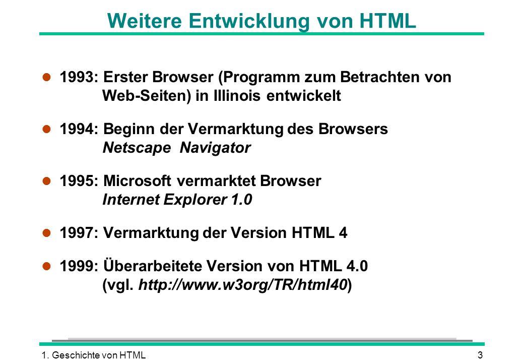 Weitere Entwicklung von HTML