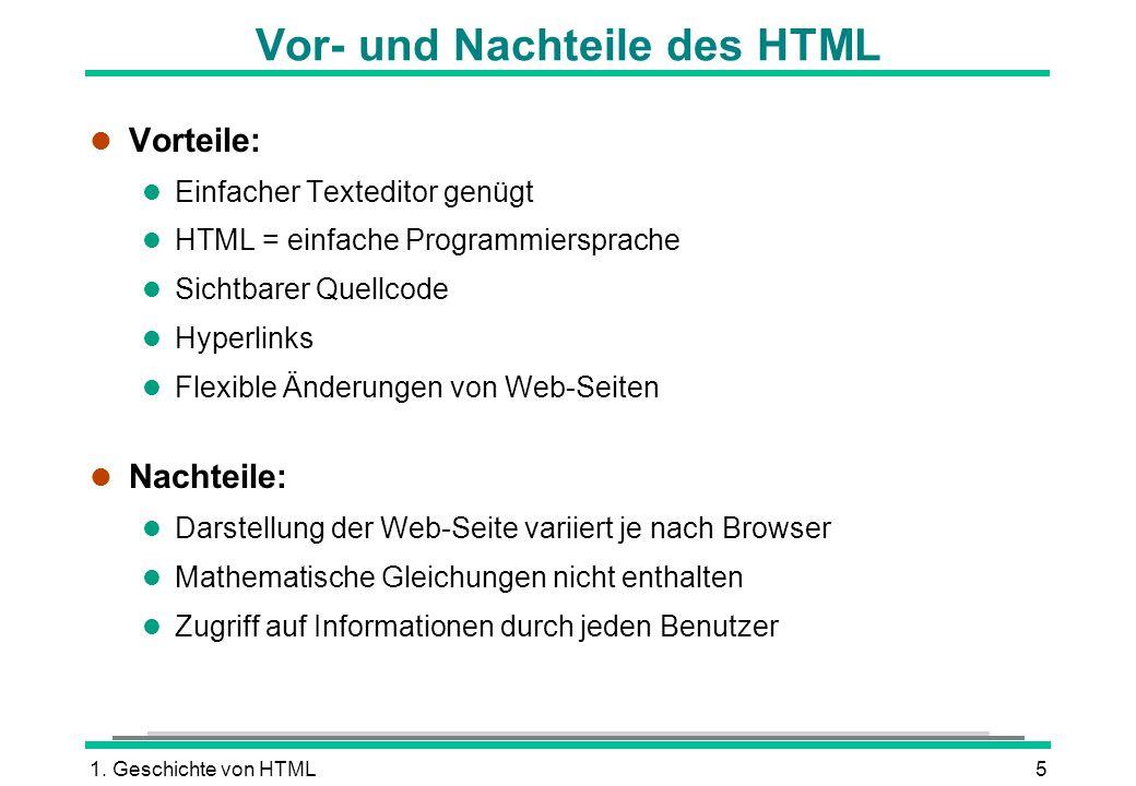 Vor- und Nachteile des HTML