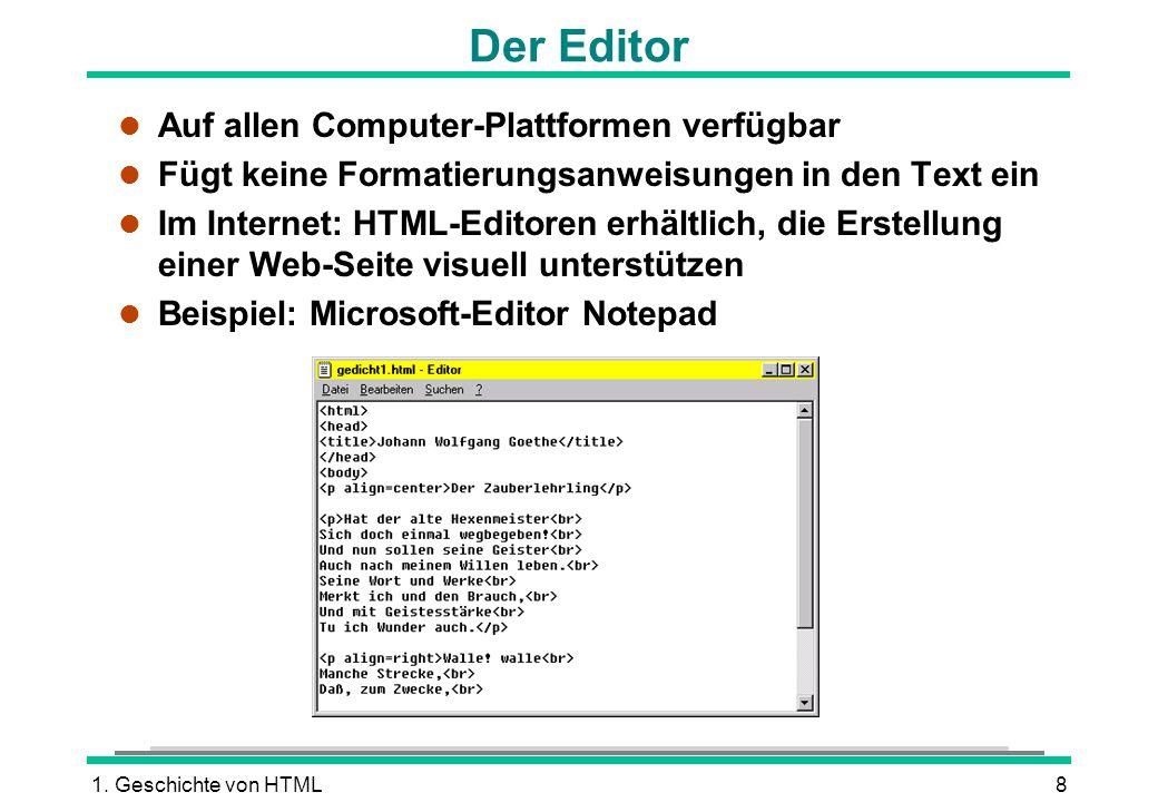 Der Editor Auf allen Computer-Plattformen verfügbar