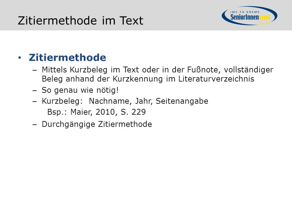 Zitiermethode im Text Zitiermethode