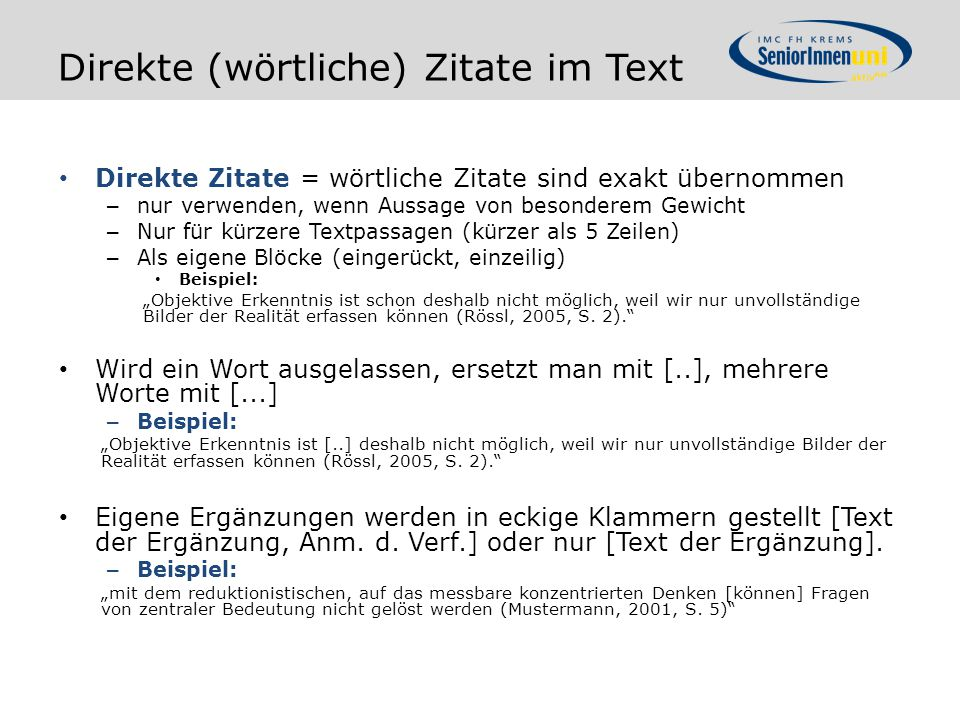 Direkte (wörtliche) Zitate im Text