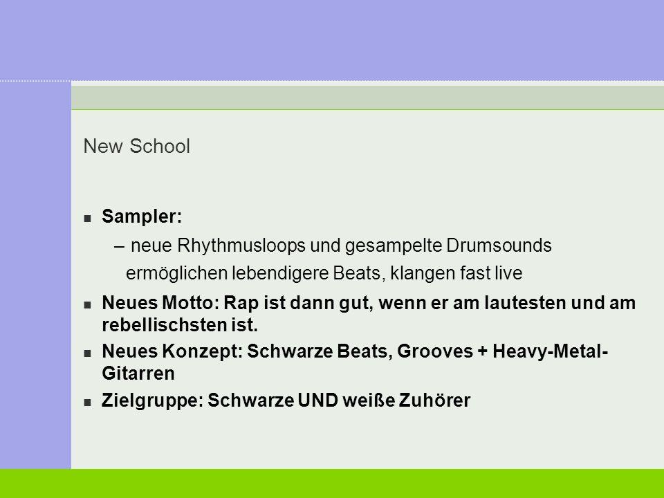 New School Sampler: neue Rhythmusloops und gesampelte Drumsounds ermöglichen lebendigere Beats, klangen fast live.