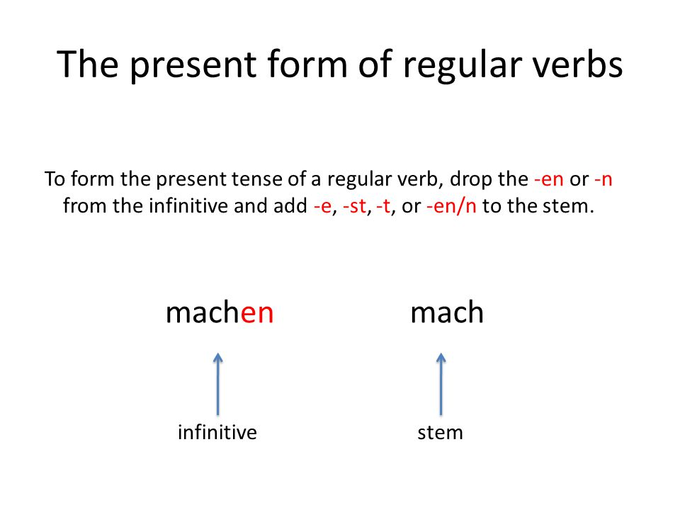 The present form of regular verbs
