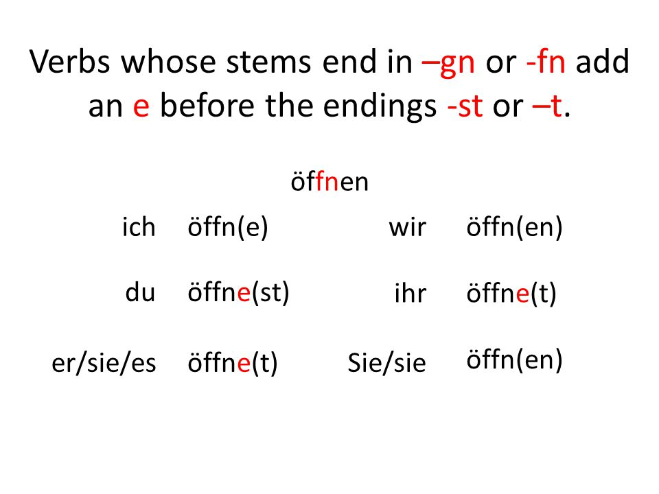 Verbs whose stems end in –gn or -fn add an e before the endings -st or –t.
