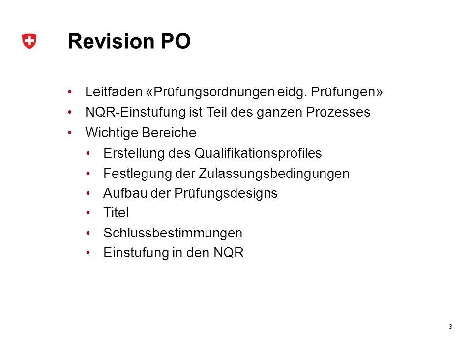 Revision PO Leitfaden «Prüfungsordnungen eidg. Prüfungen»