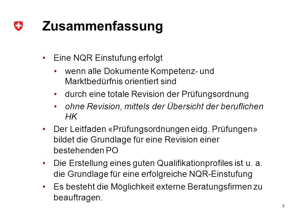 Zusammenfassung Eine NQR Einstufung erfolgt
