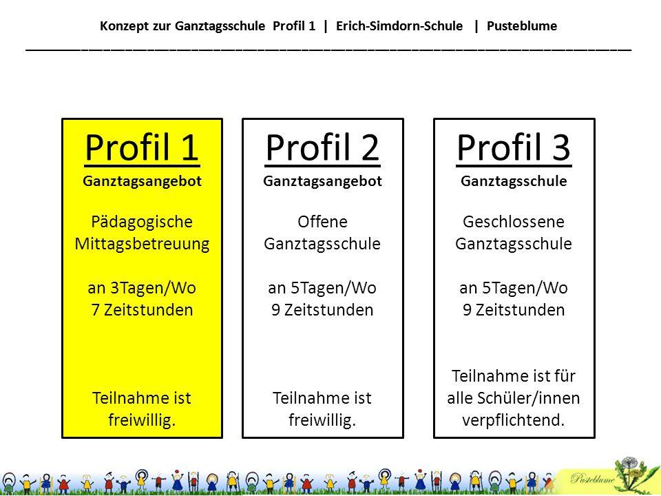 Profil 1 Profil 2 Profil 3 Pädagogische Mittagsbetreuung an 3Tagen/Wo