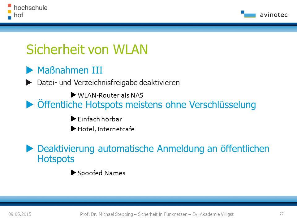 Sicherheit von WLAN Maßnahmen III