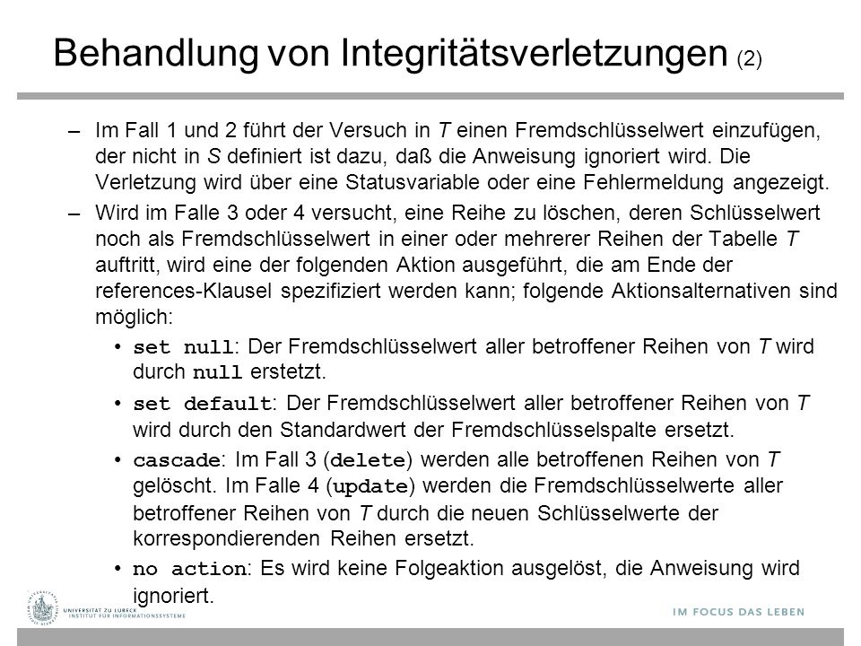 Behandlung von Integritätsverletzungen (2)