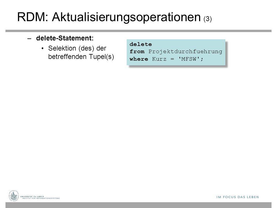 RDM: Aktualisierungsoperationen (3)