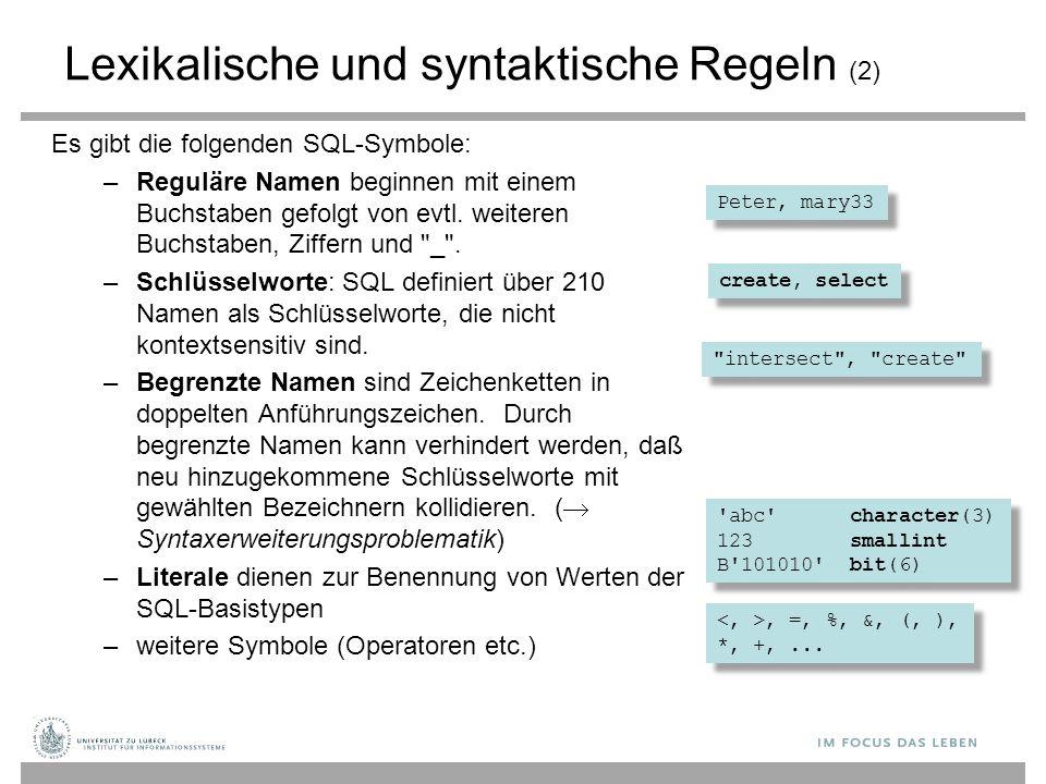 Lexikalische und syntaktische Regeln (2)