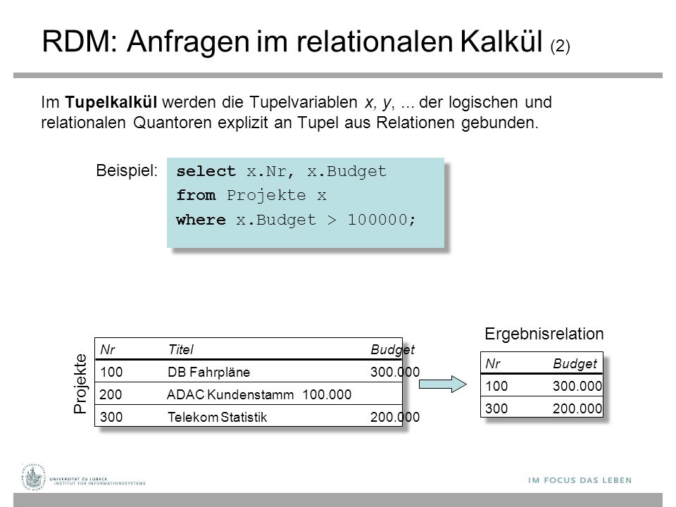 RDM: Anfragen im relationalen Kalkül (2)