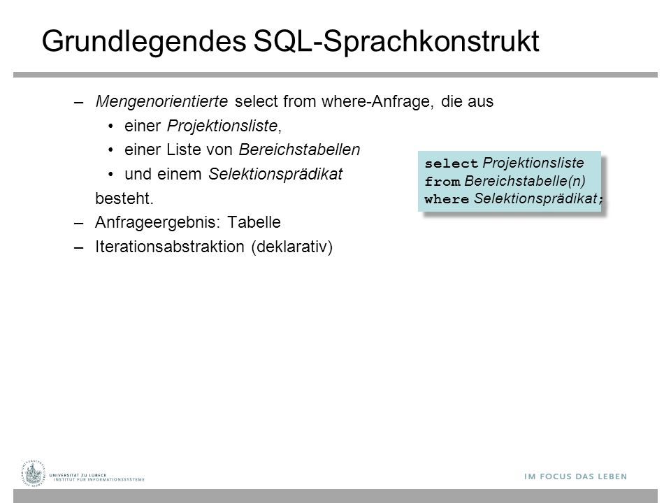 Grundlegendes SQL-Sprachkonstrukt