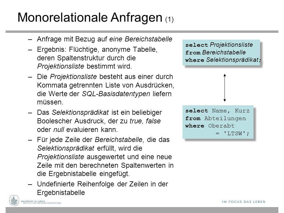 Monorelationale Anfragen (1)