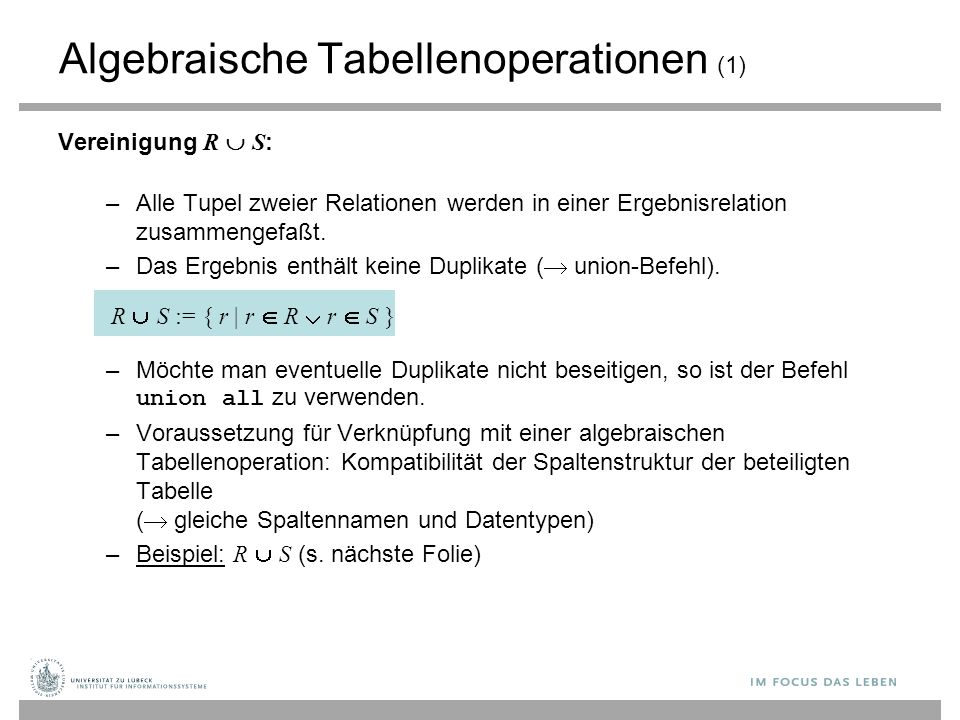 Algebraische Tabellenoperationen (1)