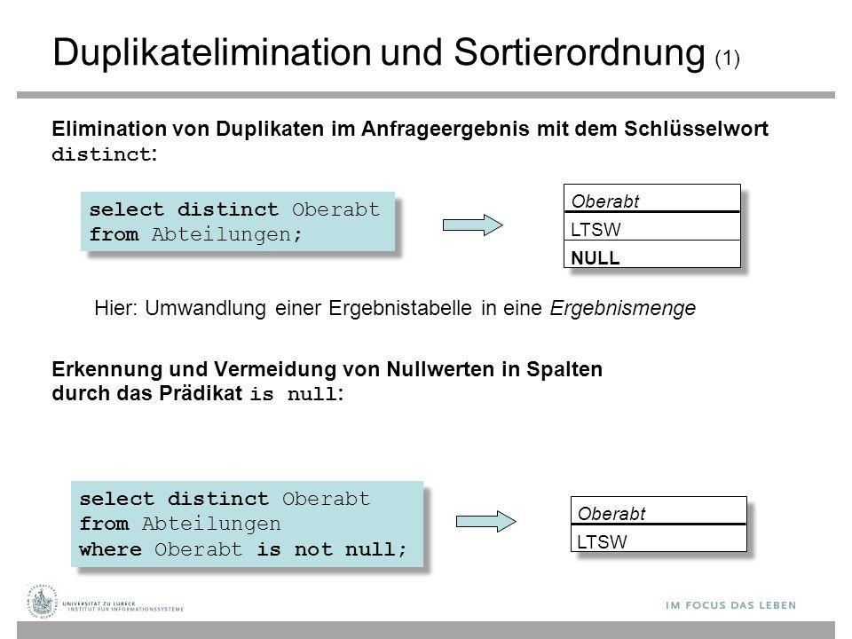 Duplikatelimination und Sortierordnung (1)