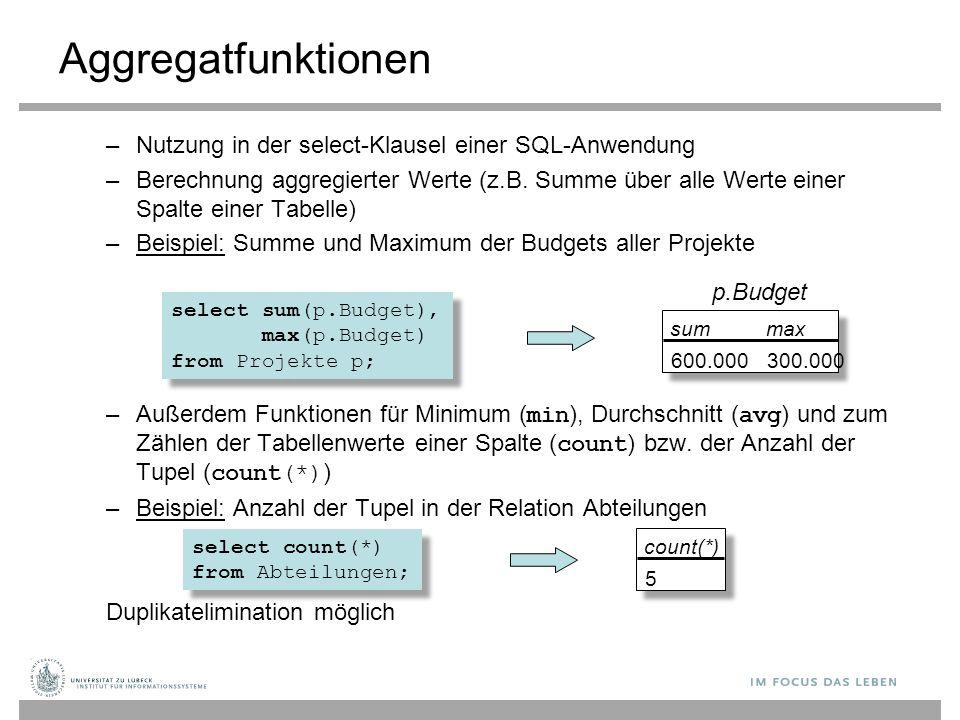 Aggregatfunktionen Nutzung in der select-Klausel einer SQL-Anwendung