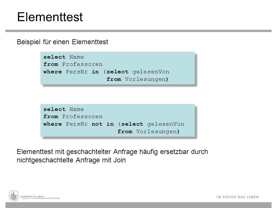Elementtest Beispiel für einen Elementtest