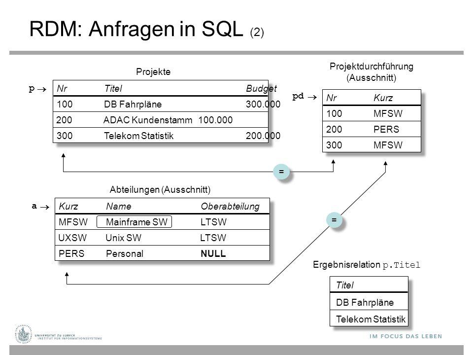 RDM: Anfragen in SQL (2) Projektdurchführung (Ausschnitt) Projekte p 