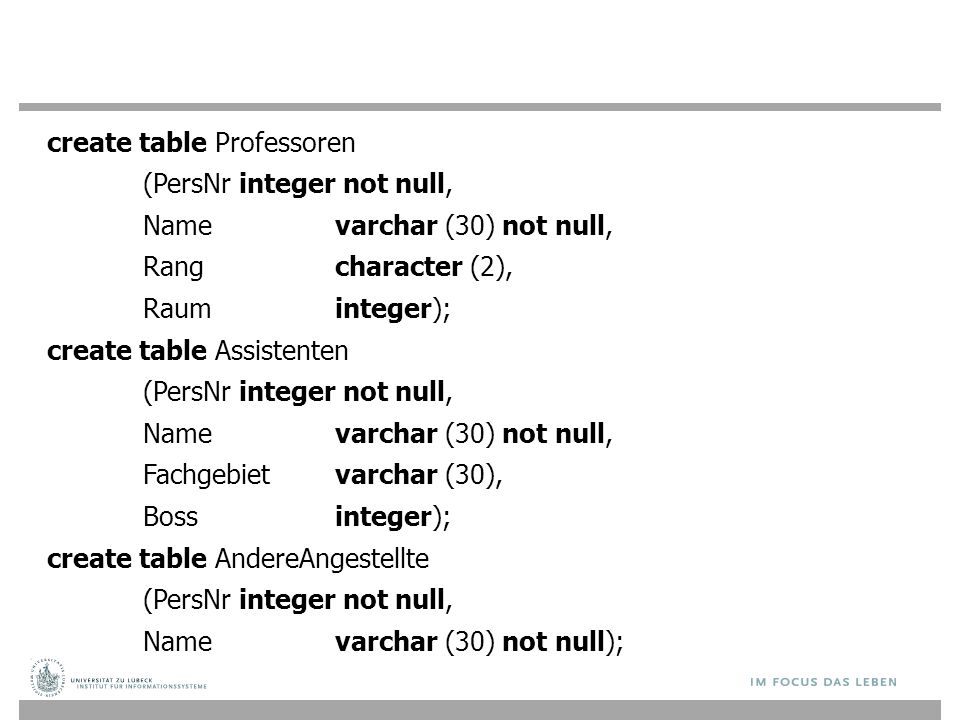 create table Professoren