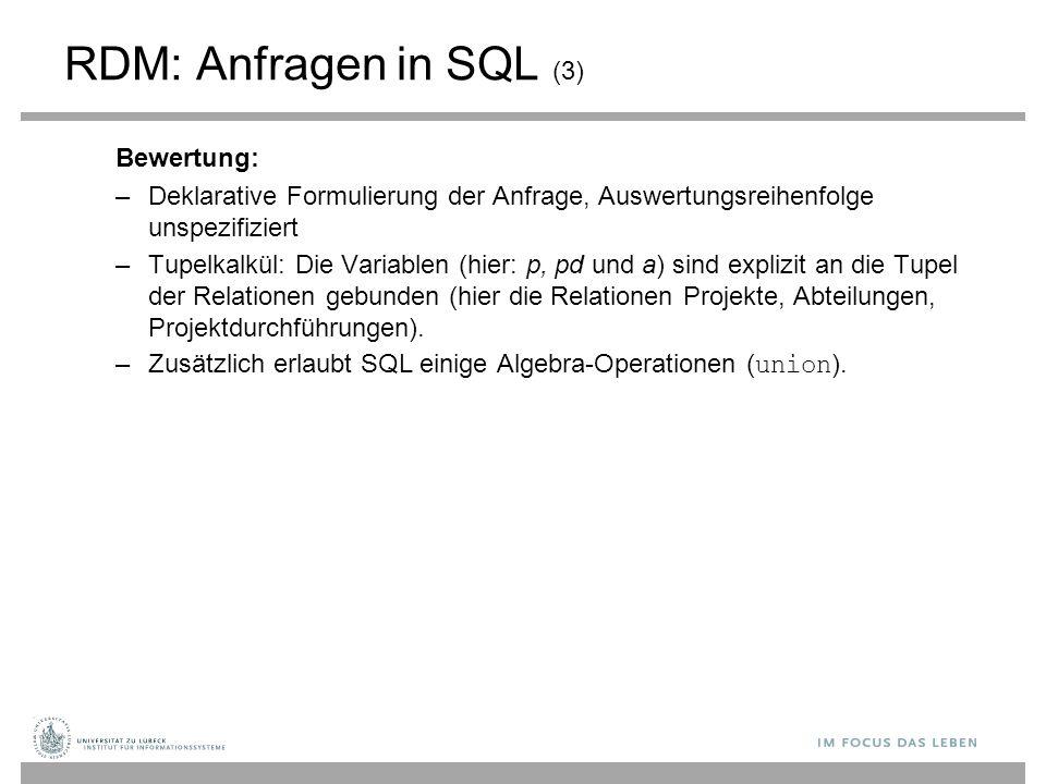 RDM: Anfragen in SQL (3) Bewertung: