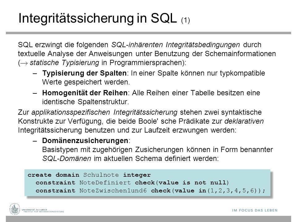 Integritätssicherung in SQL (1)
