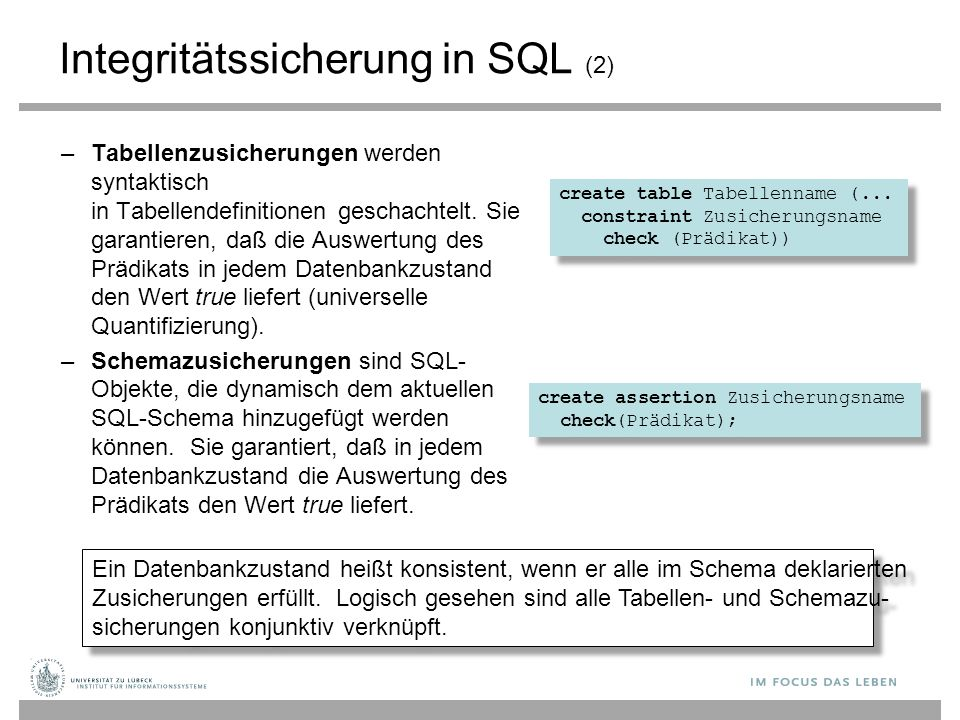 Integritätssicherung in SQL (2)